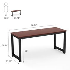 """Amazon.com :9 Tribesigns Computer Desk, 63"""" Large Office Desk Computer Table Study Writing Desk for Home Office (Teak +Black Leg) : Office Products"""