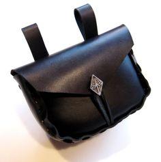 Medieval Black Belt Purse Leather Belt Purse Renaissance SCA Black Leather Purse this one is mine.