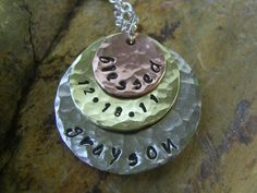 Layered Mixed Metal Trio Necklace Hand Stamped by KottageKreations, $30.00