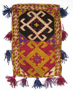 Uzbek Lakai Bag, Silk embroidery on cotton, x excluding tassels. Textiles, Silk Ribbon Embroidery, Kilims, Fabric Art, Tribal Rug, Textile Art, Leather Craft, Fiber Art, Rugs On Carpet