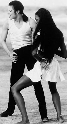 """Michael Jackson and Naomi Campbell in the music video for the song, """"In the Closet"""", 1992."""