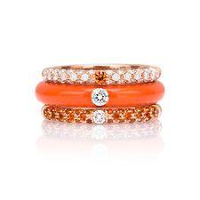 Adolfo Courrier I-POP 18K Rose Gold Orange Sapphire & Diamond Herme