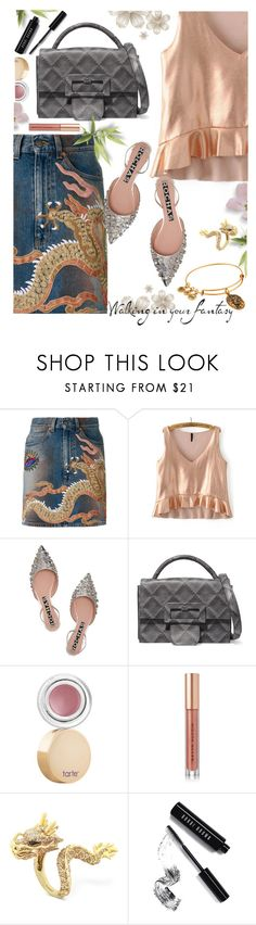 """""""Fantasy"""" by juliehooper ❤ liked on Polyvore featuring Gucci, Rochas, Maison Margiela, tarte, Kevyn Aucoin, Effy Jewelry, Bobbi Brown Cosmetics, Alex and Ani, denim and dragon"""