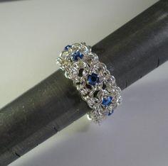 Chain Maille Ribbon Eternity Ring in Sapphire Blue Swarovski Crystal - VenusInChains.com