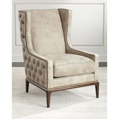 Ambella Idris Tufted-Back Leather Wing Chair ($3,824) ❤ liked on Polyvore featuring home, furniture, chairs, handmade furniture, leather chair, tufted leather chair, tufted leather wing chair and hand made furniture