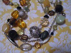 NWT Lia Sophia Torsade Necklace Multi Strand Brown Amber Green Beads Silverplate #LiaSophia #StrandString