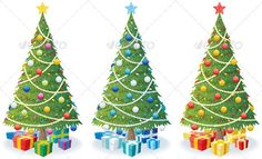 Christmas Tree and Gifts  #GraphicRiver         Cartoon illustration of Christmas tree in 3 color versions. No transparency used. Basic (linear) gradients. CDR , AI, EPS , JPEG and PSD files.     Created: 22August11 GraphicsFilesIncluded: PhotoshopPSD #JPGImage #VectorEPS #AIIllustrator Layered: Yes Tags: background #