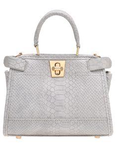 Grey Twist Lock Metallic Embellished PU Tote Bag -SheIn(Sheinside)