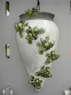 Tin Hill Sculptured Pottery - 7 climbing frog sconce vessel