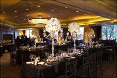 Elegant, yet modern black and white wedding decor ~ Photo: John Ly Photography