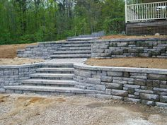 terraced retaining walls | Terraced Ashlar Block Wall
