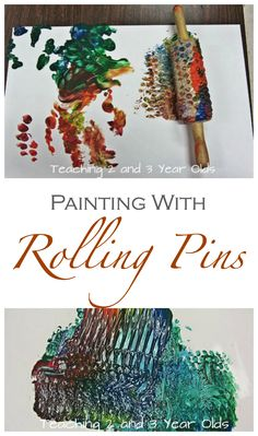 Tape bubble wrap around a rolling pin for a fun toddler and preschooler art activity - from Teaching 2 and 3 Year Olds