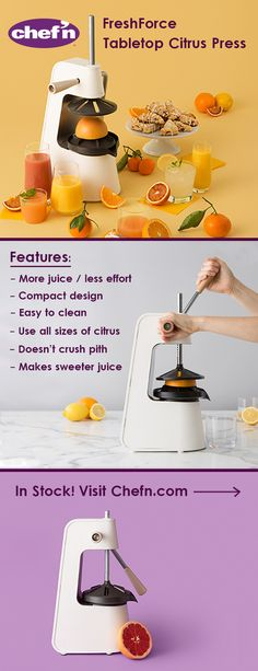Ergonomic Sy And Perfect For Those Larger Juicing Baking Projects Meet The No Electricity Required Chef N Freshforce Tabletop Citrus Press