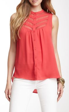 Pleione Sleeveless Mesh Yoke Blouse
