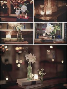 Books as centerpiece with jars and flowers. simple, less flowers, more candles. jars as a rustic touch.