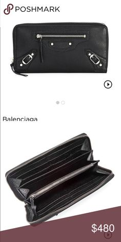 New Balenciaga Arena Black Leather Wallet New with tags   dust bag wallet.  100% 02910a8ee105f