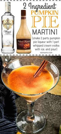 Easy Pumpkin Martini Recipe | 6 easy holiday cocktail recipes using just 2 ingredients! All made with alcohol for adults. These drinks are perfect for Christmas or Thanksgiving, and super easy for a crowd. A variety of whiskey, vodka and wine. Instrupix.com Holiday Cocktails, Thanksgiving Alcoholic Drinks, Easy Halloween Cocktails, Fall Drinks Alcohol, Easy Cocktails, Vodka Cocktails, Drinks Alcohol Recipes, Cocktail Drinks, Fun Drinks