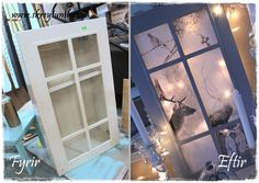 A door from a small cupboard turned into a winterwonderland!  All you need is a printer, some fairylights and la voila...  http://www.skreytumhus.is/?p=17312