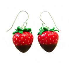 Strawberry Earrings - Miniature Food - Chocolate Dipped ❤ liked on Polyvore