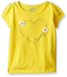 Crazy 8 Girls Toddler Babyflower Heart Graphic Tee Buttercup 2 Years >>> Be sure to check out this awesome product. (This is an affiliate link) #BabyGirlTops