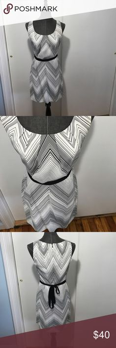 Trina Turk black white chevron silk dress 4 Beautiful lightweight (but lined) black and white silk chevron dress with tie waist. Good pre-owned condition and true to size 4 but could also fit a 2 or) based on how tight you want it and how tight you tie it. Trina Turk Dresses Mini