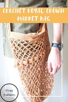 Create your own DIY Royal Crown Market Bag! Reusable bag for the market, diminish your use of plastic and paper when grocery shopping; beginner friendly