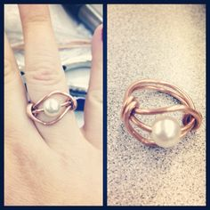 Copper Wire ring with pearl bead.