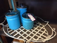Retro turquoise canisters at Digs in Clarkston