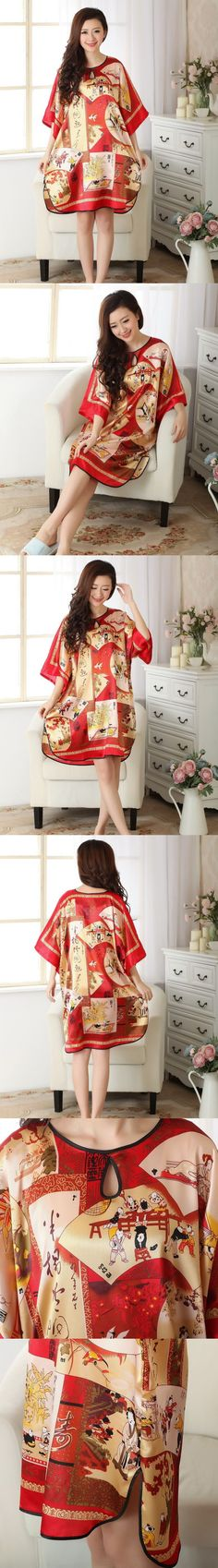 Plus Size 4XL Red Chinese Style Women Silk Rayon Robe Summer Lounge Sleepwear Home Dress Robe Gown Yukata Nightshirt S0107-A