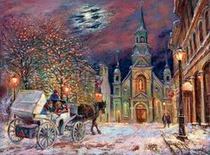 Magic Of Notre Dame De Bonsecours. Montreal - for Good Luck - spiritual metaphysical art prints by Ottawa Artist Elena Khomoutova. Magic Holiday Night, children and puppy in Horse Carriage, Christmas lights on trees near Notre Dame De Bonsecours in Montreal, Quebec are on the painting. Romantic couple walking along the streets. The beautiful colorful sky with shining moon is on the background.