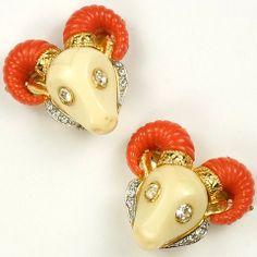 Hattie Carnegie Coral and Ivory Ram's Head Earrings
