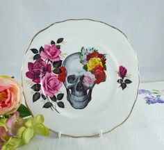Floral Skull Plate - skulls, upcycled vintage plate, customised china, flower skull, vintage china, day of the dead, Dia de Muertos