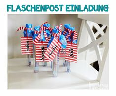 die elberbsen: ♥ DIY - Flaschenpost Einladung ♥ Ibm, Tech Companies, Poster, Company Logo, Logos, Message In A Bottle, Invitations, Kids, Projects