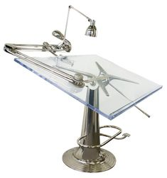 Okay - one last drafting table. This is the coolest drafting table anyone has ever created. Nike Hydraulics, you win the prize. Industrial Furniture, Industrial Design, Drawing Desk, Drawing Tables, Drawing Board, Drafting Tools, Deco Originale, Floor Design, Antique Copper