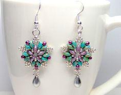Starburst superduo star earrings, superduo earrings, super duo earrings, star earrings, twin bead earrings, teardrop earrings