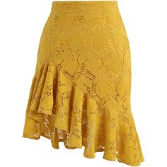 Chicwish Paradisiacal Asymmetric Frill Hem Lace Skirt in Mustard (120 BRL) ❤ liked on Polyvore featuring skirts, yellow, flounce skirt, mustard yellow skirt, lace skirt, mustard skirts and frill skirt