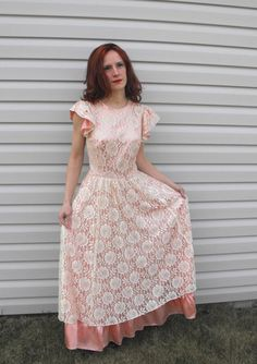 Vintage Lace Party Dress Pink Ivory Formal Gown 60s S by soulrust, $89.99