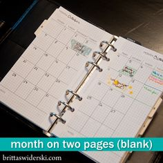 Month on Two Pages Undated – $2  Enjoy the flexibility and timelessness of this month on two pages set without numbers or dates. This set comes complete with three pdfs – the month on two pages in A5 (5.75″ x 8.25″), Personal (3.75″ x 6.75″) and Pocket (3.25″ x 4.75″). Each document comes with two pages, a front and a back of each spread, for easy printing and trimming. Documents are sized to 8.5″ by 11″ letter size paper.