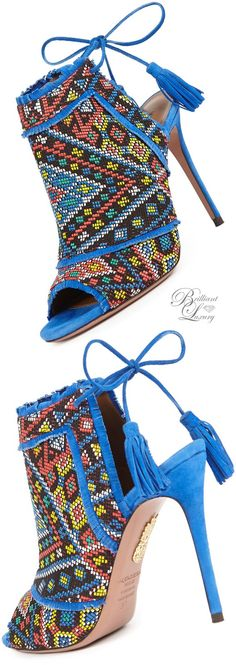 Brilliant Luxury * Aquazzura Colorado Woven Ankle-Tie Bootie