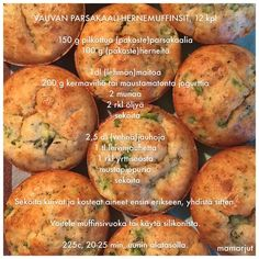 Vauvan parsakaali-hernemuffinsit Baby Food Recipes, Baked Potato, Kids Meals, Goodies, Baking, Vegetables, Ethnic Recipes, Babys, Baby Shower