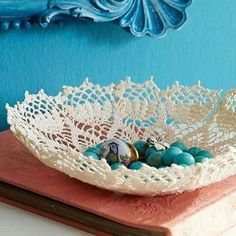 DIY Craft: How to Make Lace Doily Bowls. Creative ways to use vintage doilies or new ones for bowls throughout your home for decor or for holding items.