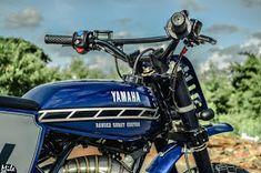 Yamaha Scrambler by Ranger Korat Korat, Yamaha Rx 135, Yamaha Dt, Bicycle Storage Shed, Classic 350 Royal Enfield, Ranger, Small Motorcycles, Bicycle Painting, Cafe Racer Build
