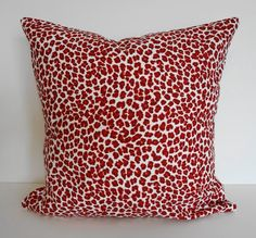 Red Leopard Print Decorative Throw Pillow Cover