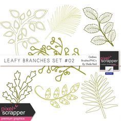 Leafy Branches Set #02 Outlines Brushes/PNG's Kit