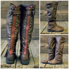 Wake Forest Brown Red Zipper Rustic Riding Boots