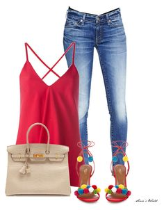 Pon Pon by sonies-world on Polyvore featuring polyvore, fashion, style, Dondup, 7 For All Mankind, Aquazzura, Hermès and clothing