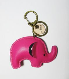 Elephant leather keychain Animal keychain Elephant by Womensgirl, $17.80