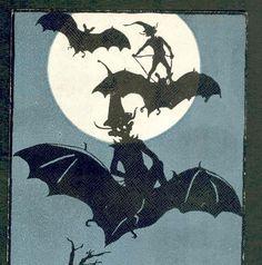 "RARE ""Sir Goblin on His Flying Machine"" Elves Ride Bats Halloween Postcard | eBay"