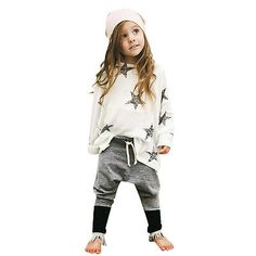 2PCS star set Autumn Spring Toddler Kids Baby Girls Outfits long sleeve T-shirt Tops Dress+ Denim Pants Clothes Set