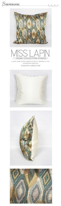 MISSLAPIN东南亚/样板房家居软装靠包抱枕/绿色几何图案绣花方枕-淘宝网
